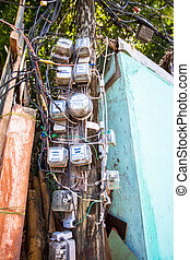 Electric pole in the Asian country
