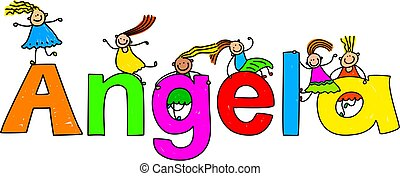 angela - Group of happy and diverse children climbing over...