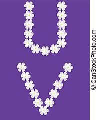 illustration of letter u,v