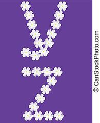 illustration of letter y,z