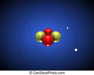 Helium Atom - 3D illustration of a helium atom with...