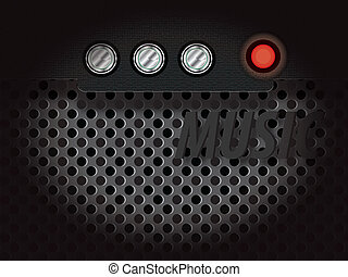 Amplifier - amplifier with audio controls and the red...