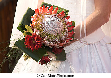 Wedding Flowers - Wedding Bouquet with red flowers and a big...