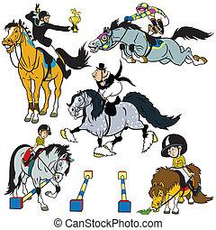 ensemble, dessin animé, Cheval, cavaliers