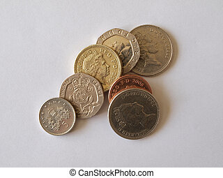 British (uk) currency. - Close up of British silver and...