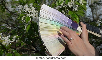tree bloom color palette - woman hands choosing color tint...
