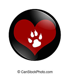 I Love Dogs button, A black and red button with dog paw...