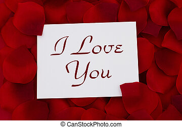 I Love You card, A white card with text I love you and a red...