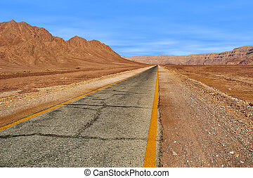 Road through red mountains in Timna park, Israel. - Paved...