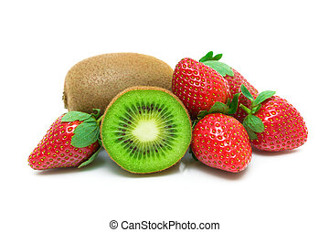 strawberry and kiwi isolated on white background - fresh...