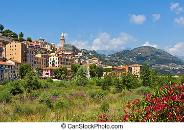 Ventimiglia and overgrown riverbed - Riverbed overgrown with...