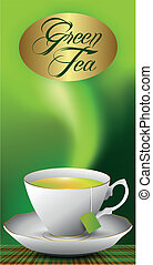 cup of green tea - Green background and sample a cup of tea...
