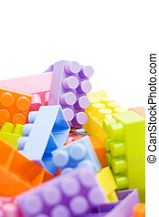colorful building blocks on white