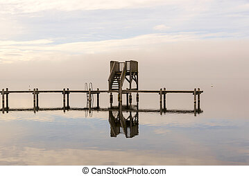 Wooden Dock with Birds Sitting on i - Wooden Dock with Birds...