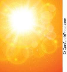 Summer natural  background with sun, vector illustration.