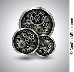 Abstract background 3D with technology gears, vector