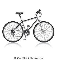 Montaña, bicicleta, aislado, blanco, vector
