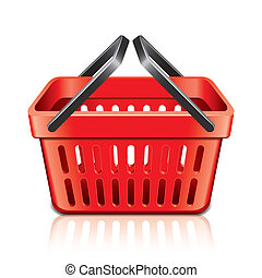 Empty shopping basket isolated on white vector - Empty...