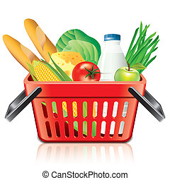 Shopping basket with food isolated on white vector -...