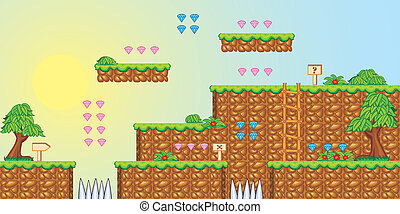 2D Tileset Platform Game 3 - Tile set Platform for Game - A...