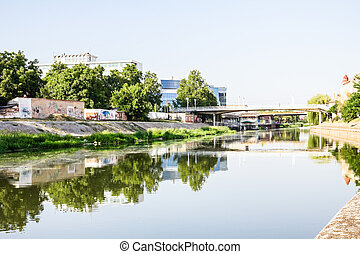 River Begej in Zrenjanin, Vojvodina - Concrete riverbed of...