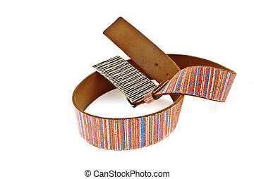 multicoloured leather belt with big steel buckle on a white...