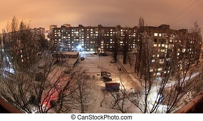 Winter Buildings with flats at night, timelapse Full HD