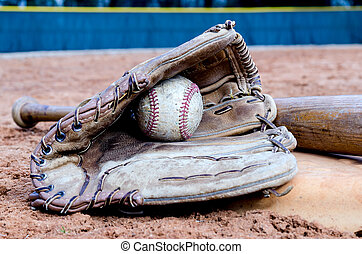 Baseball Equipment on Field