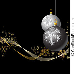 Black and Silver Christmas bulbs with golden snowflakes