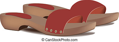 Wooden clogs - Hooves female summer beach