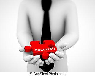 3d solution puzzle piece illustration
