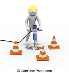 3d road worker with helmet and jackhammer - 3d rendering of...