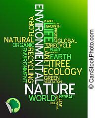 ecología, -, ambiental, cartel