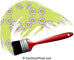 Paintbrush making flower pattern