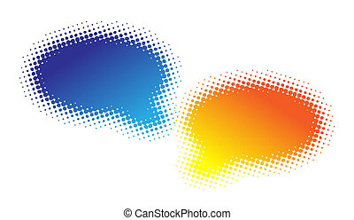 Two halftone bubbles dialog - blue and orange