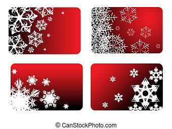 Red christmas cards with snowflakes