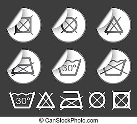 washing / textile symbols - Labels badges and stickers with...