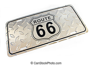 Route 66 silver metallic Sign isolated on white