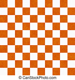 Bright Orange and White Checkers on Textured Fabric...