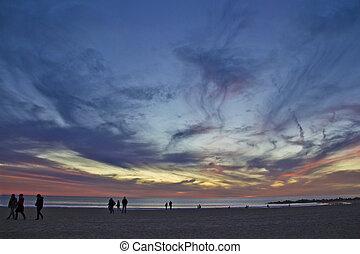 beautiful sunset over Californian ocean coast