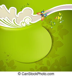 Green background with butterflies