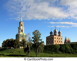 Ryazan Kremlin - Morning view of Uspensky Cathedral and...
