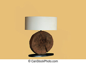 Desk lamp with white textile lampshade and decorative wooden...