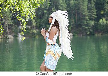 mujer, disfraz, norteamericano, indio