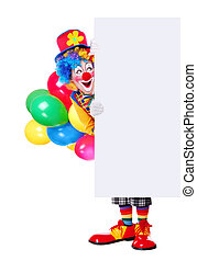 Full length portrait of a birthday clown - birthday clown...