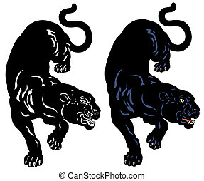 black panther tattoo illustration isolated on white...