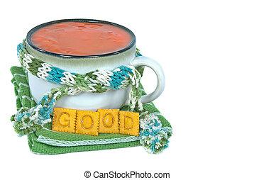 tomaat, soep, kom