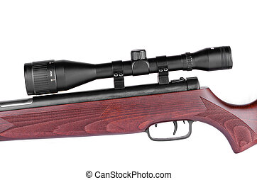 Rifle closeup on a white background with a telescopic sight