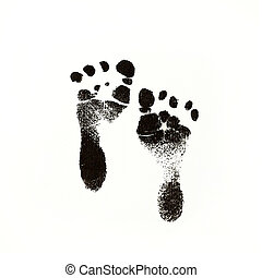 Black Ink Newborn Baby Footprints - a photo of newborn baby...