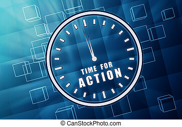 time for action in clock symbol in blue glass cubes - time...